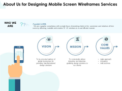 App Wireframing About Us For Designing Mobile Screen Wireframes Services Information PDF