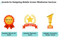 App Wireframing Awards For Designing Mobile Screen Wireframes Services Summary PDF