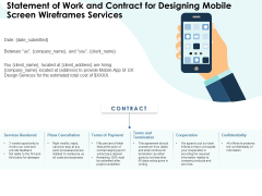 App Wireframing Statement Of Work And Contract For Designing Mobile Screen Wireframes Services Elements PDF