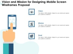 App Wireframing Vision And Mission For Designing Mobile Screen Wireframes Proposal Ideas PDF