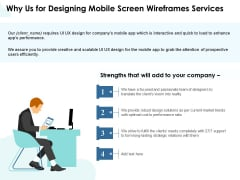 App Wireframing Why Us For Designing Mobile Screen Wireframes Services Microsoft PDF