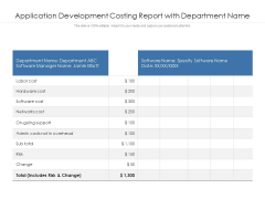 Application Development Costing Report With Department Name Ppt PowerPoint Presentation Summary Portrait PDF