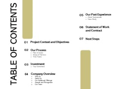 Application Development Technology Proposal Table Of Contents Information PDF