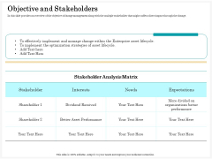 Application Life Cycle Analysis Capital Assets Objective And Stakeholders Summary PDF