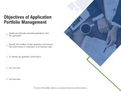Application Performance Management Objectives Of Application Portfolio Management Ppt Inspiration Files PDF