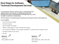 Application Technology Next Steps For Software Technical Development Services Structure PDF