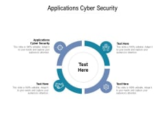 Applications Cyber Security Ppt PowerPoint Presentation Infographics Brochure Cpb Pdf