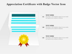 Appreciation Certificate With Badge Vector Icon Ppt PowerPoint Presentation Summary Good PDF