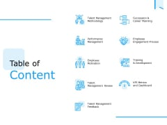 Approaches Talent Management Workplace Table Of Content Mockup PDF