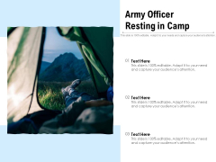 Army Officer Resting In Camp Ppt PowerPoint Presentation File Model PDF
