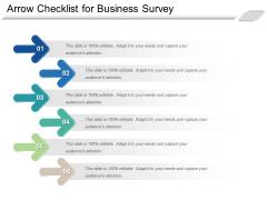 Arrow Checklist For Business Survey Ppt PowerPoint Presentation Model Slide Download PDF