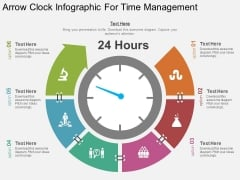 Arrow Clock Infographic For Time Management Powerpoint Template