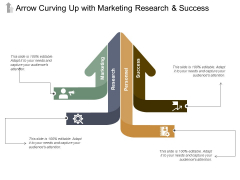 Arrow Curving Up With Marketing Research And Success Ppt PowerPoint Presentation Outline Show