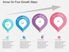 Arrow On Four Growth Steps Powerpoint Templates