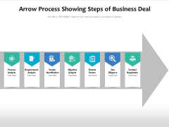 Arrow Process Showing Steps Of Business Deal Ppt PowerPoint Presentation Design Ideas PDF