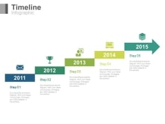 Arrow Stair Timeline With Years Powerpoint Slides
