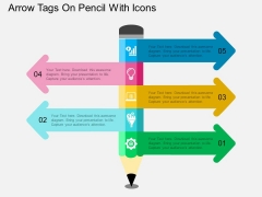 Arrow Tags On Pencil With Icons Powerpoint Template