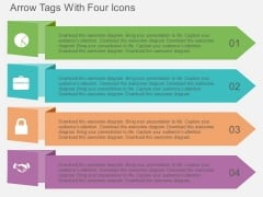 Arrow Tags With Four Icons Powerpoint Template