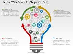 Arrow With Gears In Shape Of Bulb Powerpoint Templates