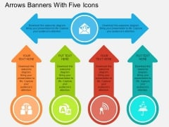 Arrows Banners With Five Icons Powerpoint Template
