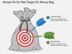 Arrows Hit On Red Target On Money Bag Powerpoint Template