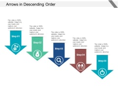 Arrows In Descending Order Ppt PowerPoint Presentation Professional Inspiration