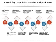 Arrows Infographics Redesign Broken Business Process Ppt PowerPoint Presentation Icon Layout Ideas PDF