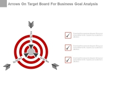 Arrows On Target Board For Business Goal Analysis Powerpoint Slides