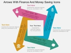 Arrows With Finance And Money Saving Icons Powerpoint Templates