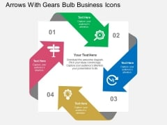 Arrows With Gears Bulb Business Icons Powerpoint Templates