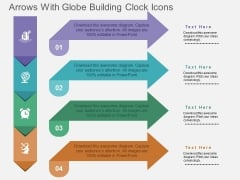 Arrows With Globe Building Clock Icons Powerpoint Templates