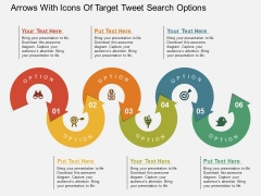 Arrows With Icons Of Target Tweet Search Options Powerpoint Templates