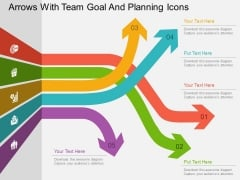 Arrows With Team Goal And Planning Icons Powerpoint Templates