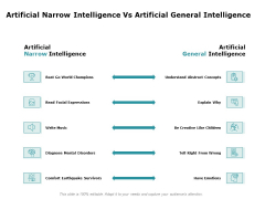 Artificial Intelligence Artificial Narrow Intelligence Vs Artificial General Intelligence Ppt Infographic Template Show PDF