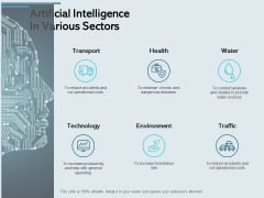 Artificial Intelligence In Various Sectors Ppt PowerPoint Presentation Layouts Graphic Tips