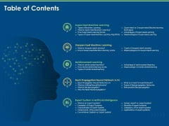 Artificial Intelligence Machine Learning Deep Learning Table Of Contents System Ppt PowerPoint Presentation Infographic Template Visuals PDF