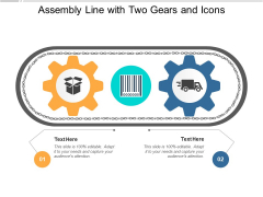 Assembly Line With Two Gears And Icons Ppt PowerPoint Presentation Show Themes