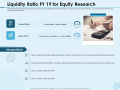 Assessing Stocks In Financial Market Liquidity Ratio FY 19 For Equity Research Ppt PowerPoint Presentation Infographics Background Images PDF
