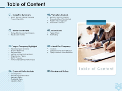 Assessing Stocks In Financial Market Table Of Content Ppt PowerPoint Presentation Infographic Template Example File