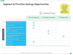 Assessing Synergies Segment And Prioritize Synergy Opportunities Ppt PowerPoint Presentation Layouts Layout PDF