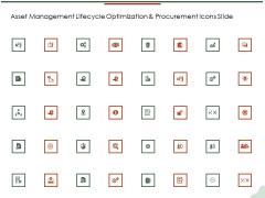 Asset Management Lifecycle Optimization And Procurement Icons Slide Summary PDF