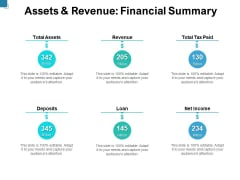 Assets And Revenue Financial Summary Ppt PowerPoint Presentation Infographic Template Graphics Pictures