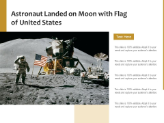 Astronaut Landed On Moon With Flag Of United States Ppt PowerPoint Presentation Professional Infographic Template PDF