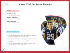 Athletics Sponsorship About Club For Sports Proposal Ppt PowerPoint Presentation Styles Example PDF