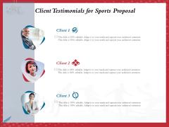 Athletics Sponsorship Client Testimonials For Sports Proposal Ppt PowerPoint Presentation Outline Ideas PDF