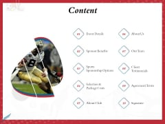 Athletics Sponsorship Content Ppt PowerPoint Presentation File Picture PDF
