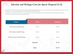 Athletics Sponsorship Selection And Package Costs For Sports Proposal Price Ppt PowerPoint Presentation Infographic Template Portrait PDF