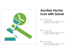 Auction Vector Icon With Gavel Ppt PowerPoint Presentation File Graphics Tutorials PDF