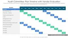 Audit Committee Plan Timeline With Vendor Evaluation Ppt PowerPoint Presentation Gallery Mockup PDF
