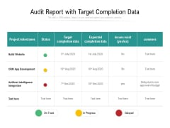 Audit Report With Target Completion Data Ppt PowerPoint Presentation Infographic Template Deck PDF
